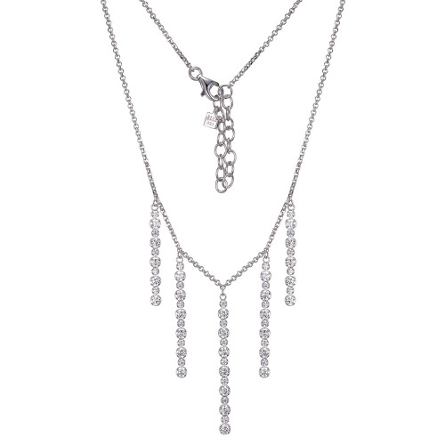 "Elle Sterling Silver 5 Rows of CZ Vertical Dangles on a 19"" Chain"