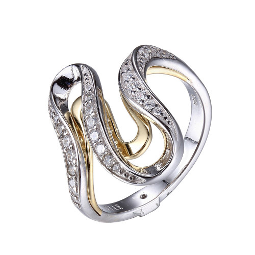 Elle Sterling  Silver Yellow Gold Plated CZ Wave Ring Size 8