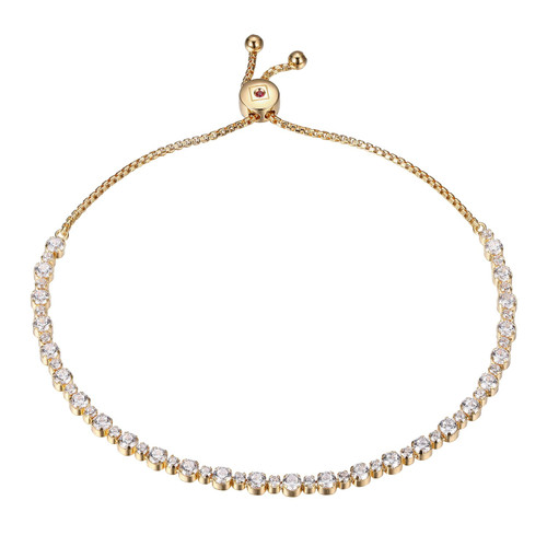 Elle Sterling Silver Yellow Gold Plated CZ Bolo Bracelet
