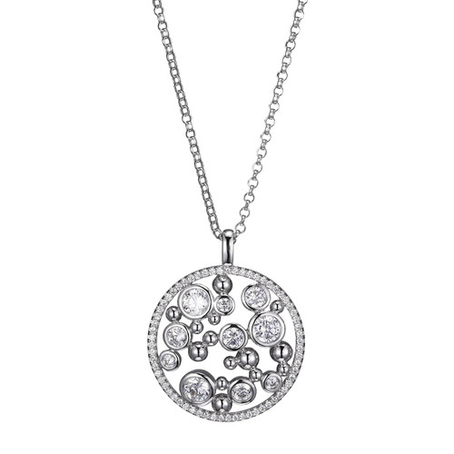 "Elle Sterling Silver Bezel Set CZ Circle Bubble Pendant on 19"" Rolo Chain"