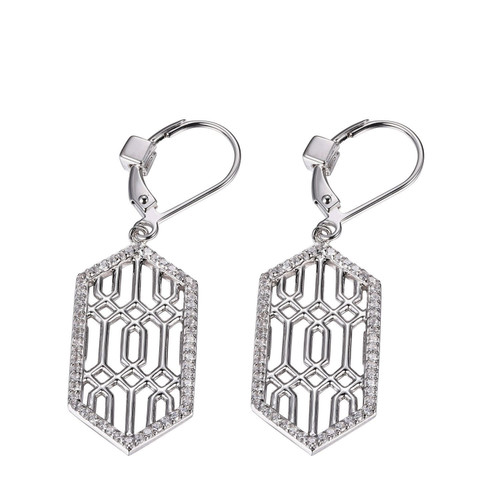 Elle Sterling Silver CZ Leverback Dangle Earrings