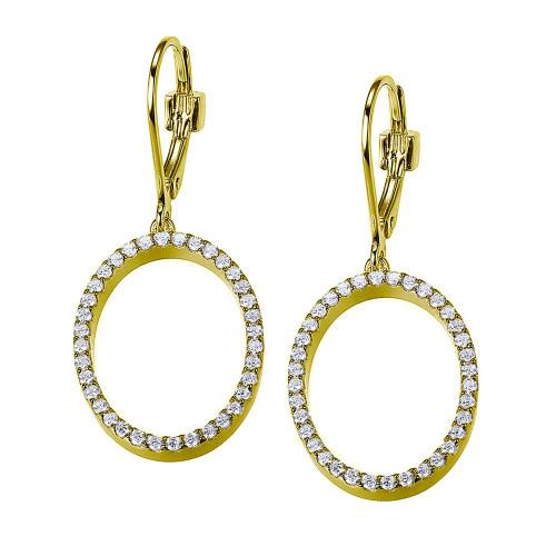 Elle Sterling Silver Yellow Gold Plated Open Oval Shape CZ Dangle Leverback Earrings