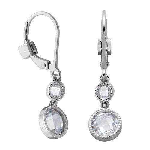Elle Sterling Silver Checker Cut Double CZ Leverback Earrings