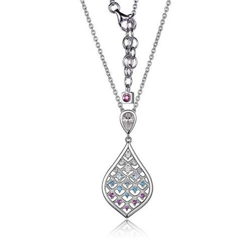 "Elle Sterling Silver CZ, Amethyst, & Blue Topaz Necklace 20"" Chain"