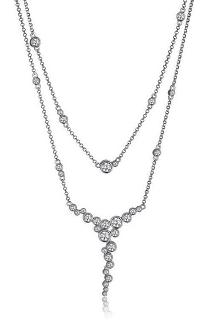 "Elle Double Strand Bezel Set CZ ""Y"" Necklace"