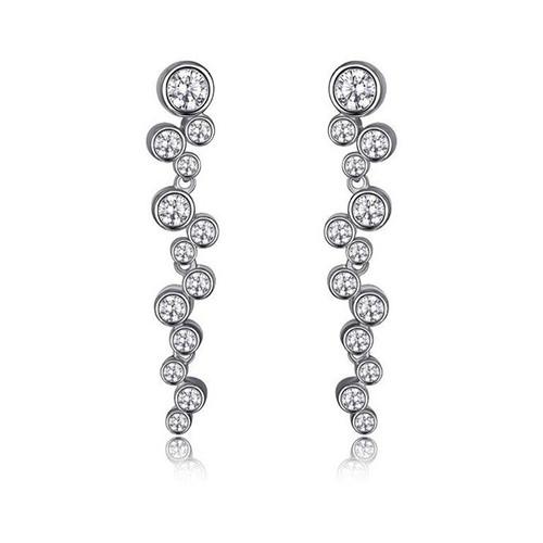 Elle Sterling Silver Bezel Set CZ Long Dangle Post Earrings
