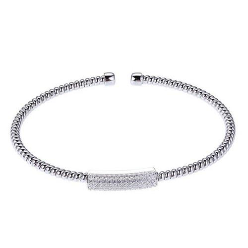 Elle Cuff Bracelet w/Pave CZs in Center