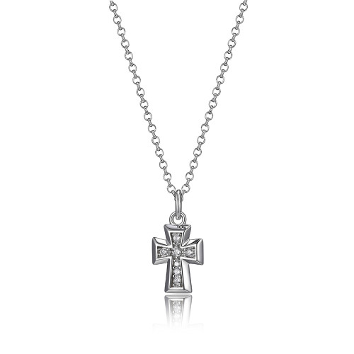 "Elle Sterling Silver CZ Small Cross Pendant on 20"" Rolo Chain"
