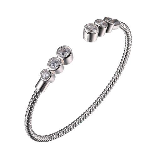 Elle Sterling Silver Bezel Set 3 CZ Graduated Cuff Bracelet