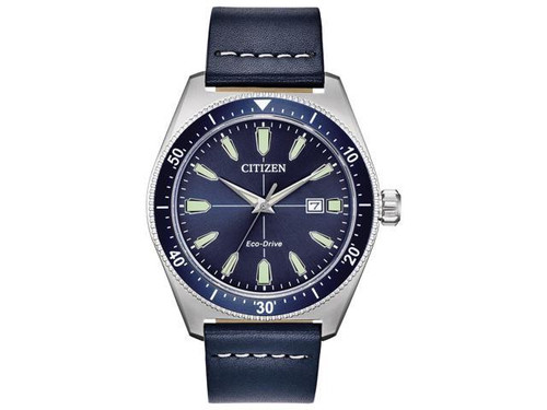 Men's Eco Drive Blue Face w/Blue Leather Band & Glow Markers