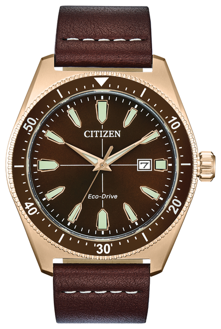 Men's Eco Drive Brown Face Rose Gold Bezel w/Brown Leather Band