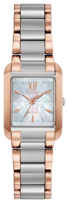 Ladies Citizen Eco Drive Two Tone w/MOP Square Face