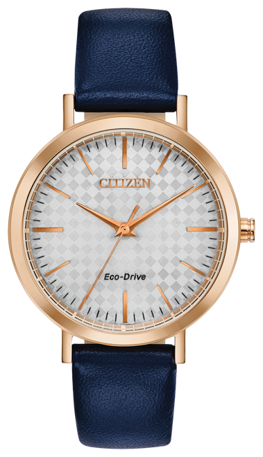 Ladies Citizen Eco Drive Watch w/Rose Gold Bezel, Silver Face, & Navy Blue Leather Band