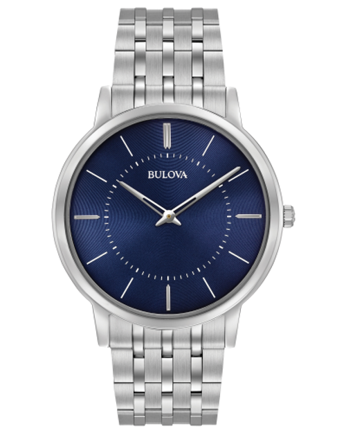 Men's Bulova Silver Watch w/Navy Face