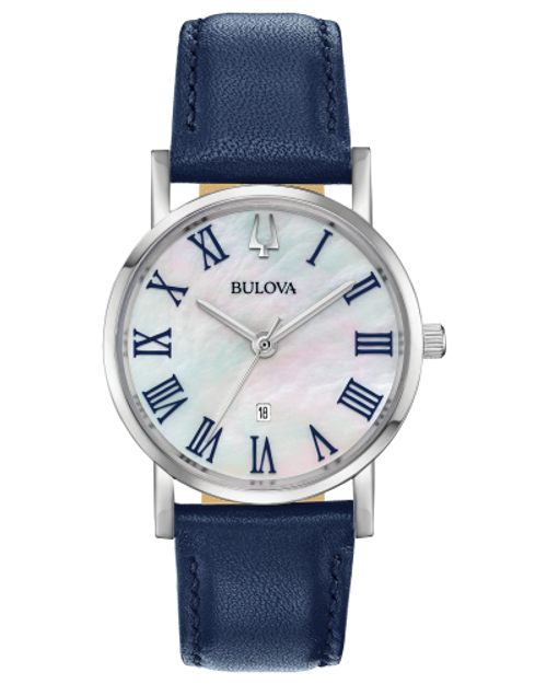 Ladies Bulova Watch MOP Face w/Navy Blue Leather Band
