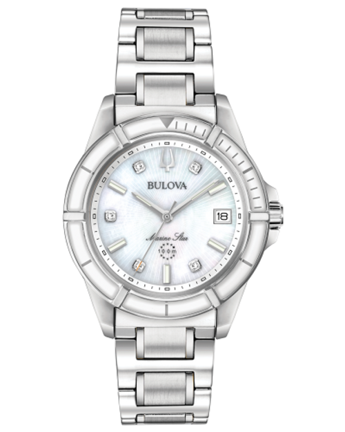 Ladies Bulova Marine Star Silver Watch w/White Bezel, White Face w/Diamonds