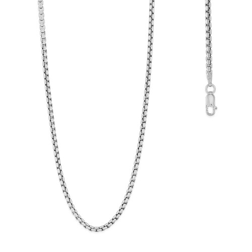 """Sterling SIlver 24"""" 2.6mm round box chain"""