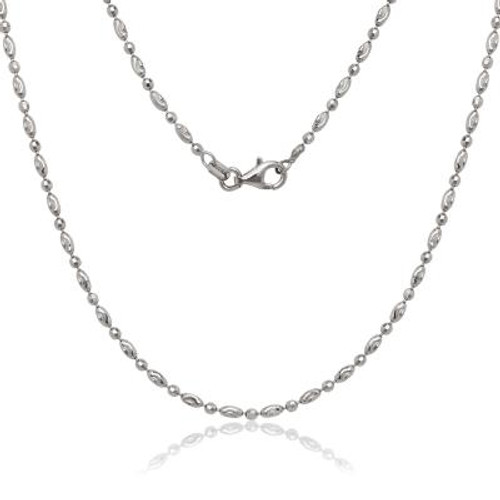 "Sterling  S 18"" oval & circle diamond cut moon bead chain"