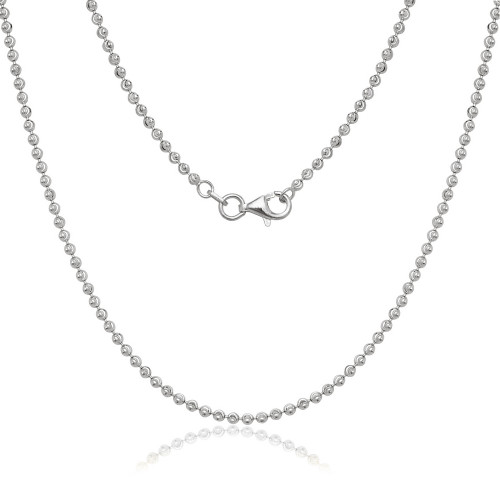 "Sterling Silver 18"" 2mm diamond cut moon bead chain"