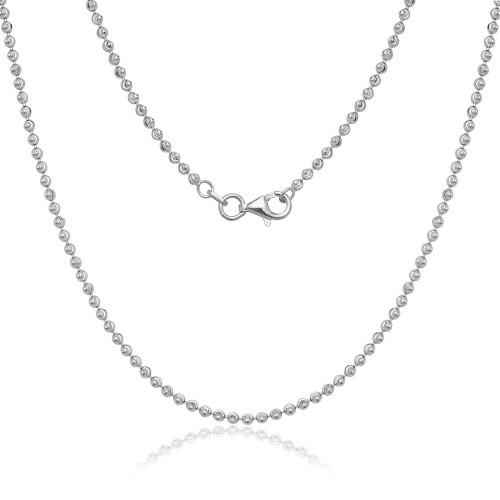 "Sterling Silver 20"" 2mm diamond cut moon bead chain"