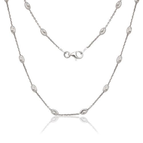 "Sterling Silver 20"" diamond cut oval moon bead chain"