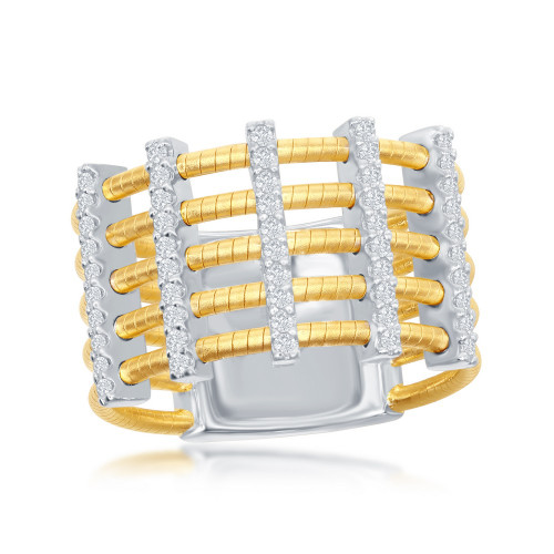 Sterling Silver 14K Yellow Gold Italian Designer Ring w/5 Gold Rows Horizontal & 4 Rows of Vertical Set CZs Across