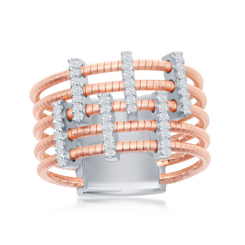 Sterling Silver 14K Rose Gold Italian Designer Ring w/5 RG Rows Horizontal & 4 Rows of Vertical Set CZs