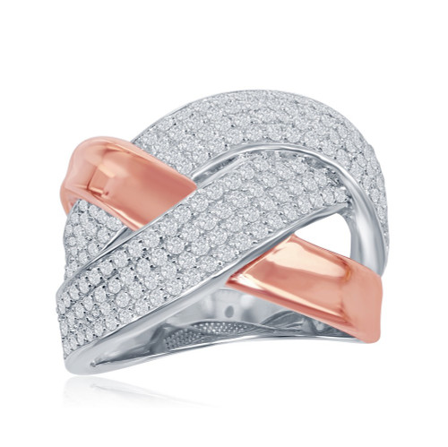 Sterling Silver & Rose Gold Plated Wide Double Criss Cross Micro Pave CZ Ring