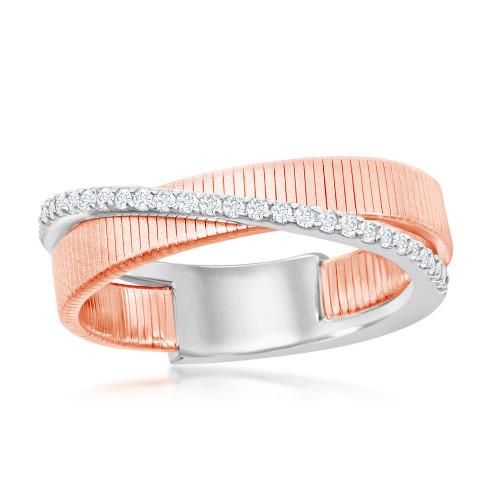 Sterling Silver 14KR Italian Desiger Criss Cross Ring w/CZs