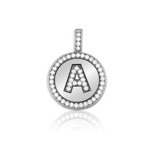 """Sterling Silver Pave Circle """"A"""" Pendant w/chain"""