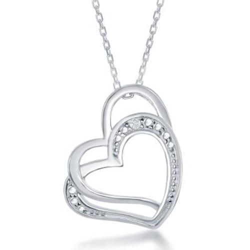 Sterling Silver Double Open Hearts w/Diamond Accents Pendant w/Chain