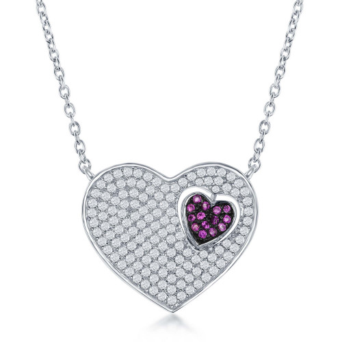 Sterling Silver Micro Pave Heart w/Small Moveable Heart w/Red CZs Necklace