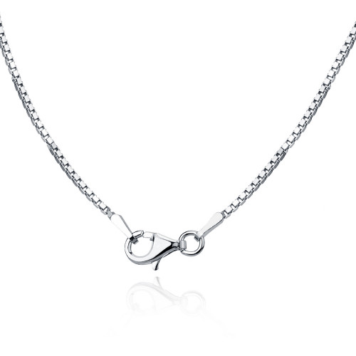 "Sterling Silver Rhodium box chain 20"" 1mm"