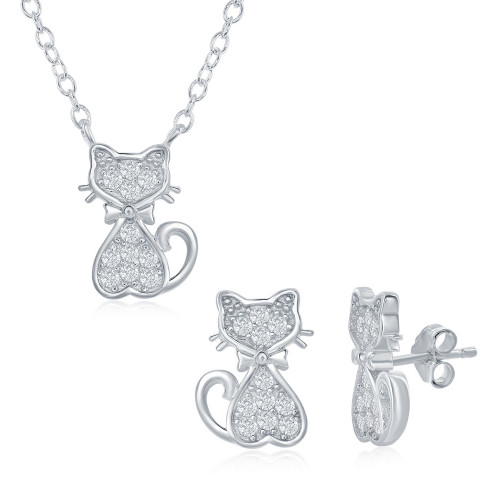 "Sterling Silver Kid's 14+2"" CZ Cat Necklace & Earring Set"