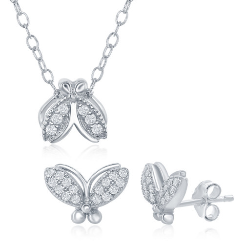 "Sterling Silver Kid's 14+2"" CZ Moth Necklace & Earring Set"