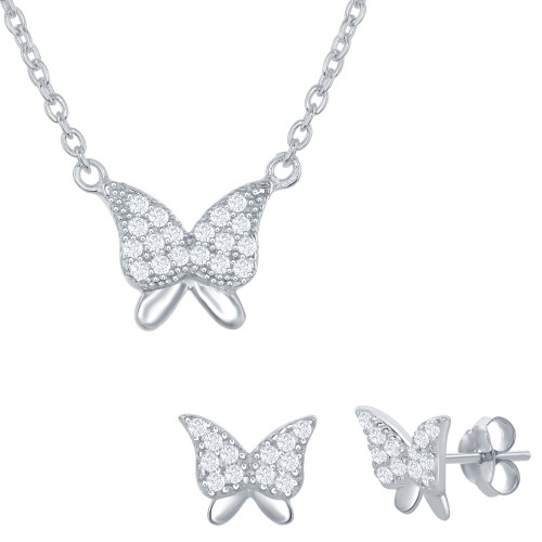 "Sterling Silver Kid's 14+2"" CZ Butterfly Necklace & Earring Set"