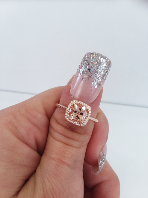 14K Rose Gold Cushion Cut Morganite with Diamond Halo 0.07 DTW