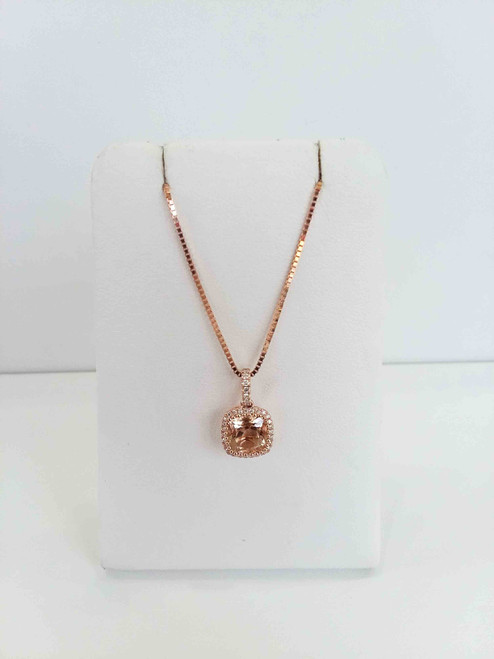 14K Rose Gold Cushion Cut Morganite With Diamond Halo Pendant 0.10 DTW