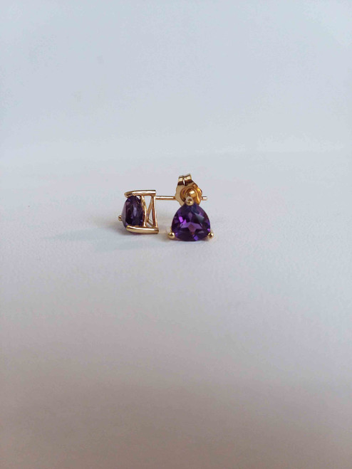14K Yellow Gold 1.34 CTW Trillion Amethyst Stud Earrings