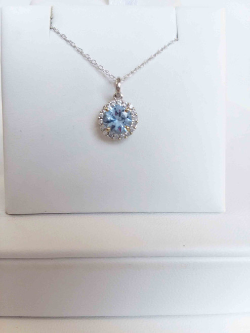 "14K White Gold 6mm Round Created Aquamarine  in a Halo of Cr. White Sapphires Pendant 18"" Chain"