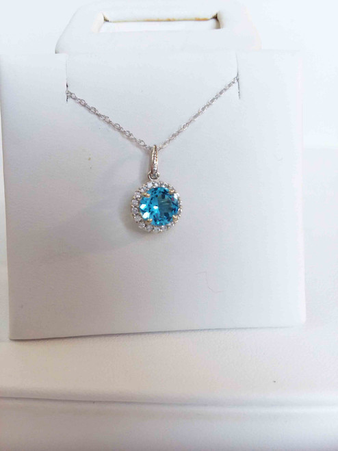 "14K White Gold 6mm Round Genuine Blue Topaz in a Halo of Cr. White Sapphires Pendant 18"" Chain"