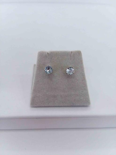 14K White Gold  4mm Aqua Stud Earrings