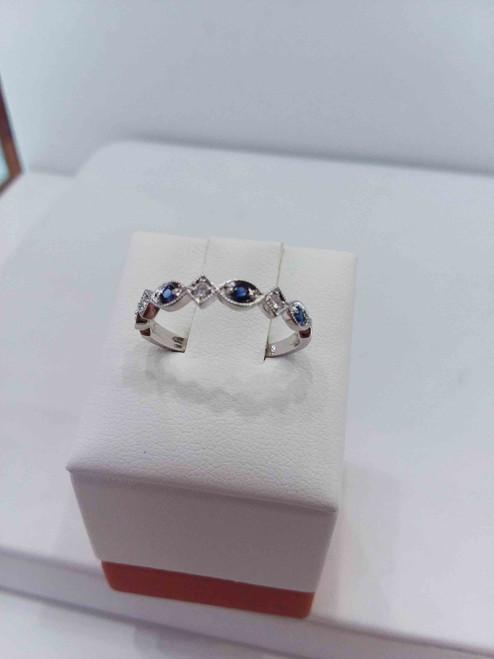 10K White Gold Diamond & Sapphire Stack Ring