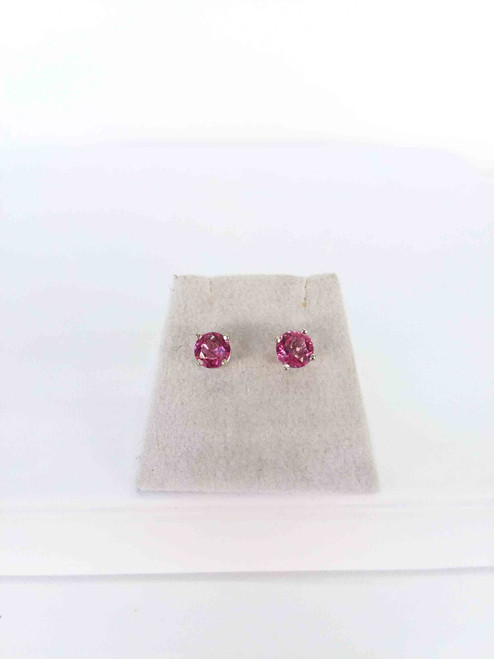10K White Gold Pink Topaz Stud Earrings