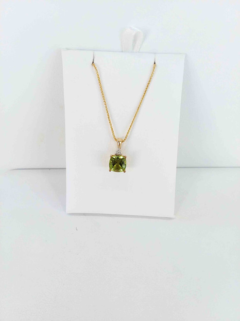 10K Yellow Gold 1.78 CTW Cushion Cut Peridot & Diamond Pendant 0.03 DTW