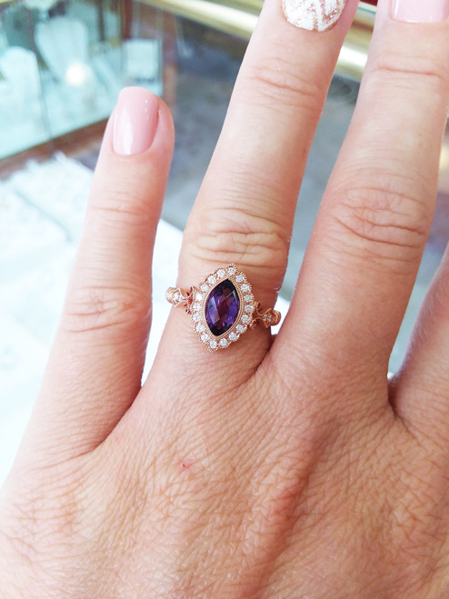 14K Rose Gold Marquise Amethyst & Diamond Halo with Filigree 0.19 DTW