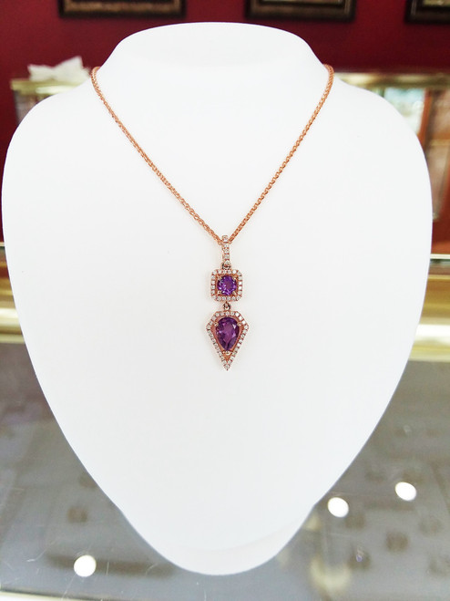 14K Rose Gold 1 Round & 1 Pear Cut Amethyst Diamond Halo Pendant 0.17 DTW
