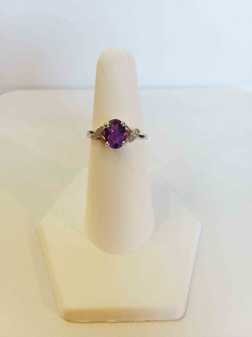 14K White Gold 1.05 CTW Amethyst 0.08 DTW Ring