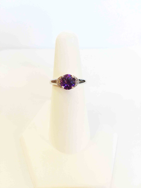 14K White Gold 1.30 CTW Amethyst 0.06 DTW Ring