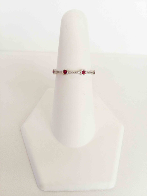 10K White Gold Ruby & Diamond Stack Ring 0.05 DTW